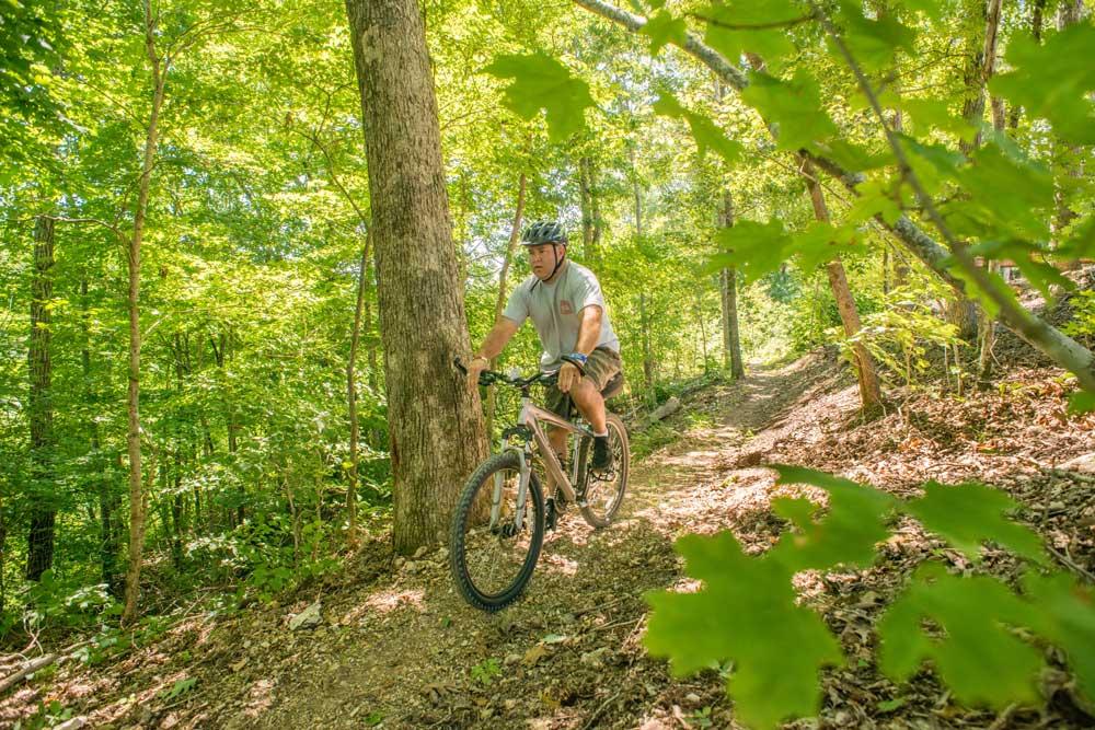 mountain biking at Echo-Bluff State Park, Missouri