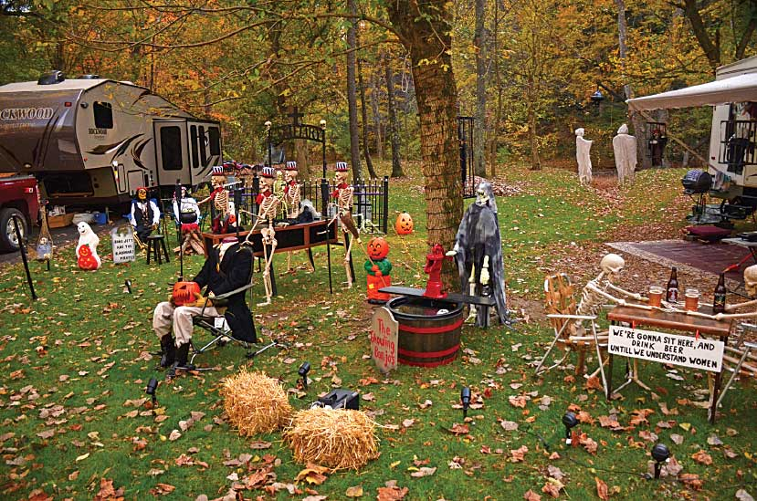 RV campers decorate for Halloween at Mohican State Park's Campground A.