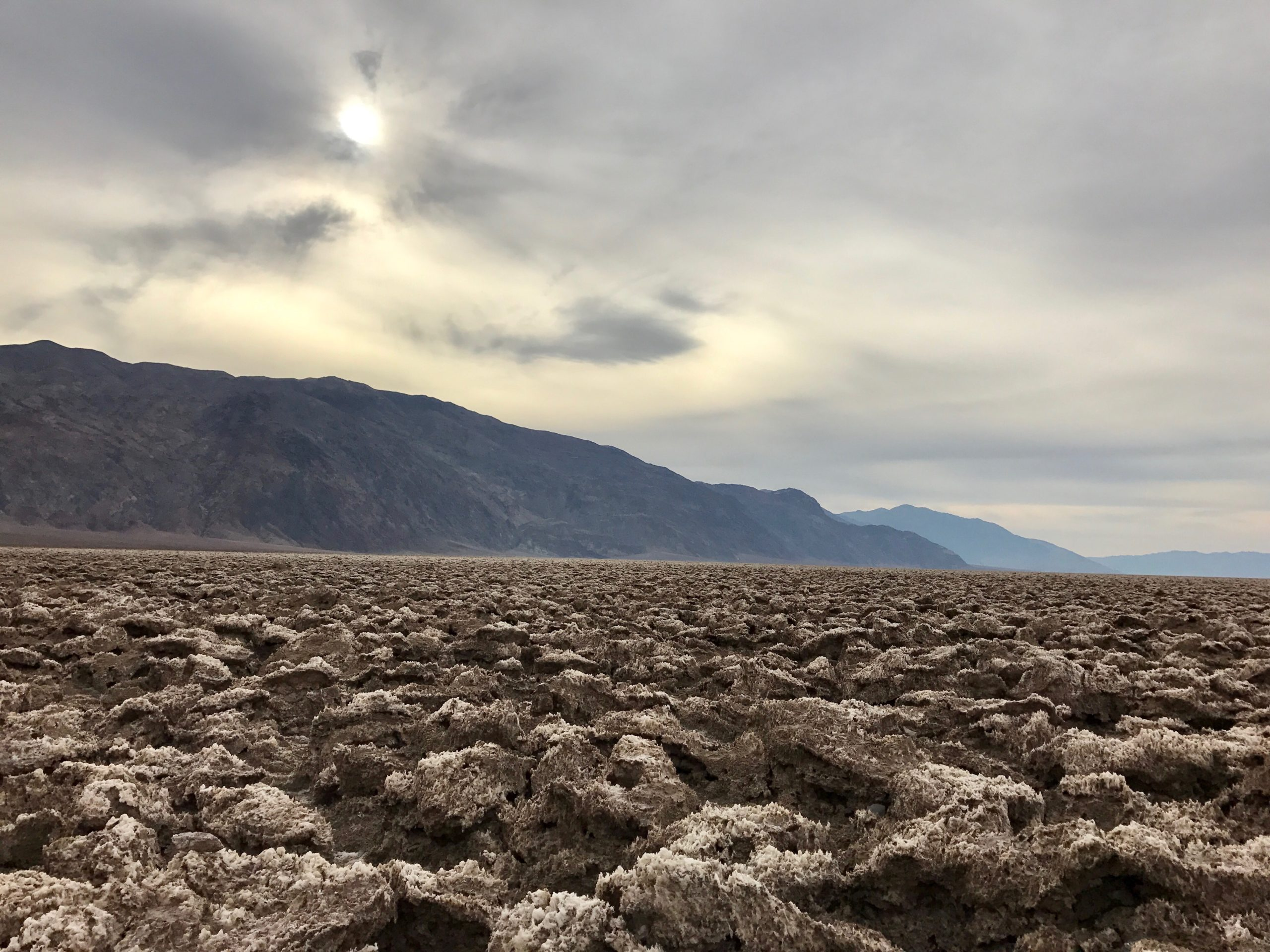 Death Valley desert on cloudy day