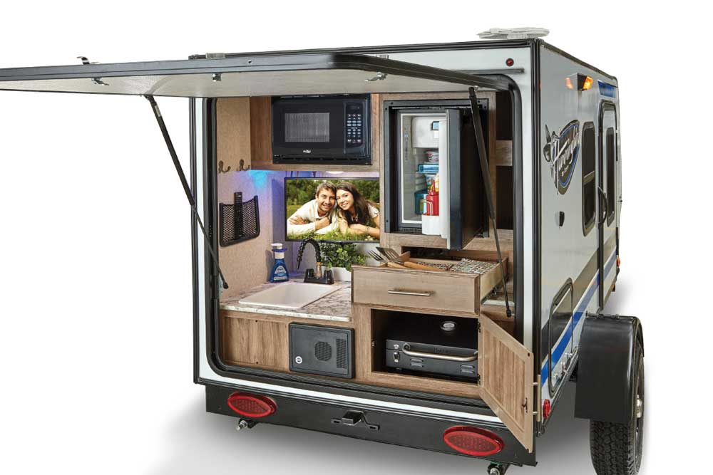 Jayco Hummingbird 10RK rear view with kitchen open
