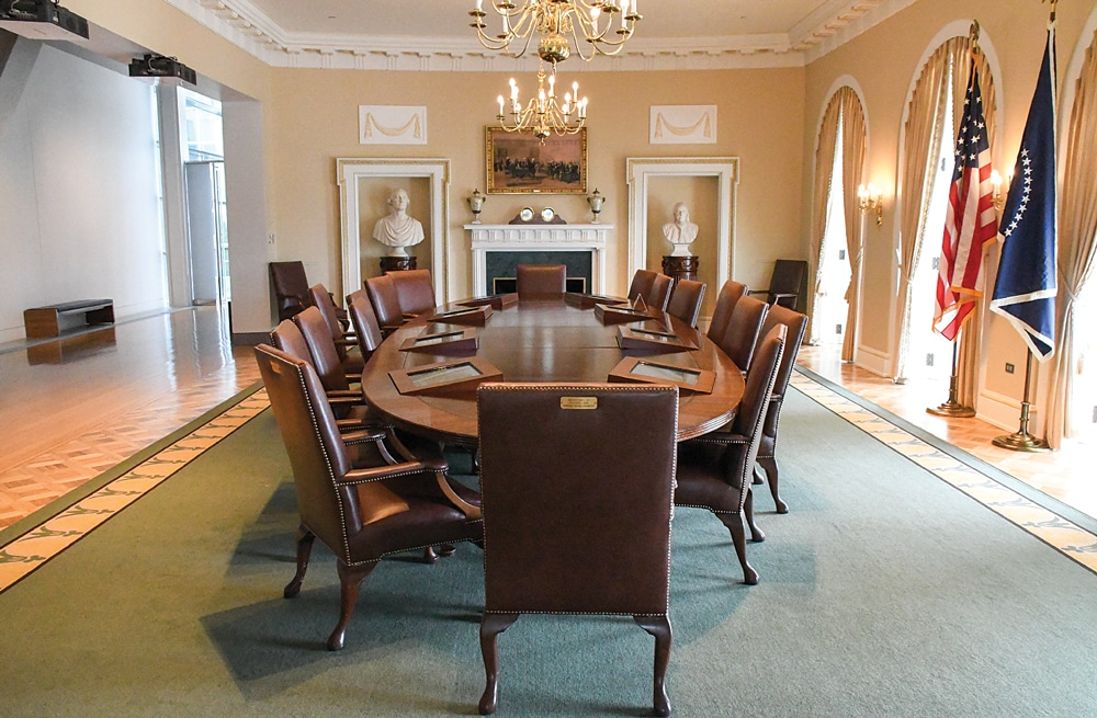 A re-creation of President Clinton's cabinet room at the William J. Clinton Presidential Center in Little Rock.