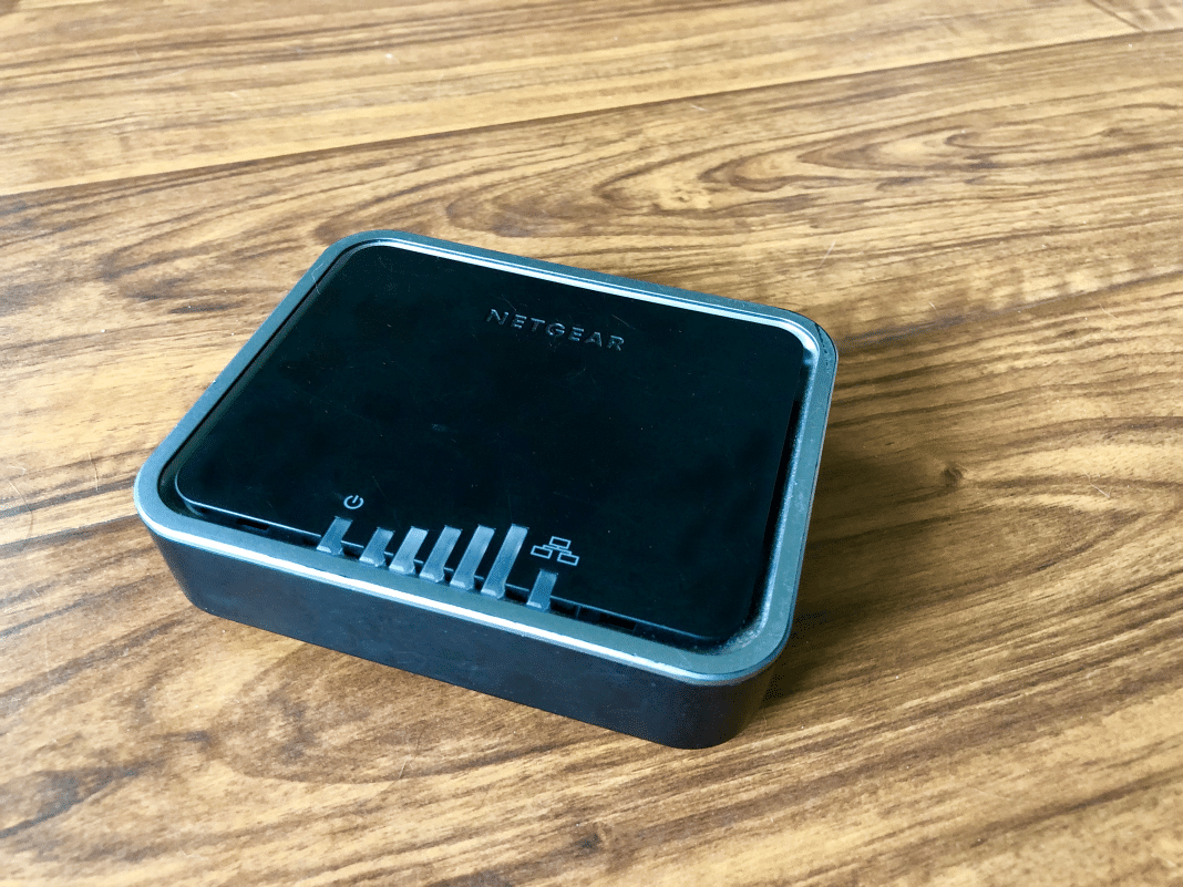 Netgear LTE modem on wood surface
