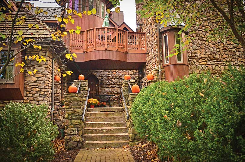 Landoll's Mohican Castle is shown with pumpkins on display for the fall