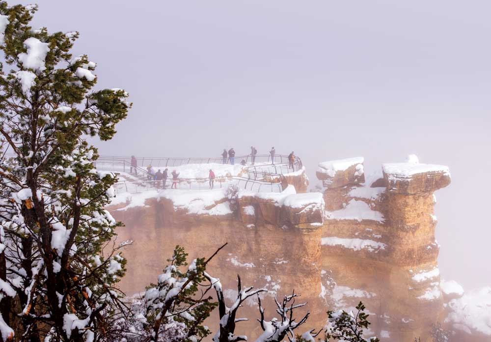 Park visitor take in a winter view in Grand Canyon
