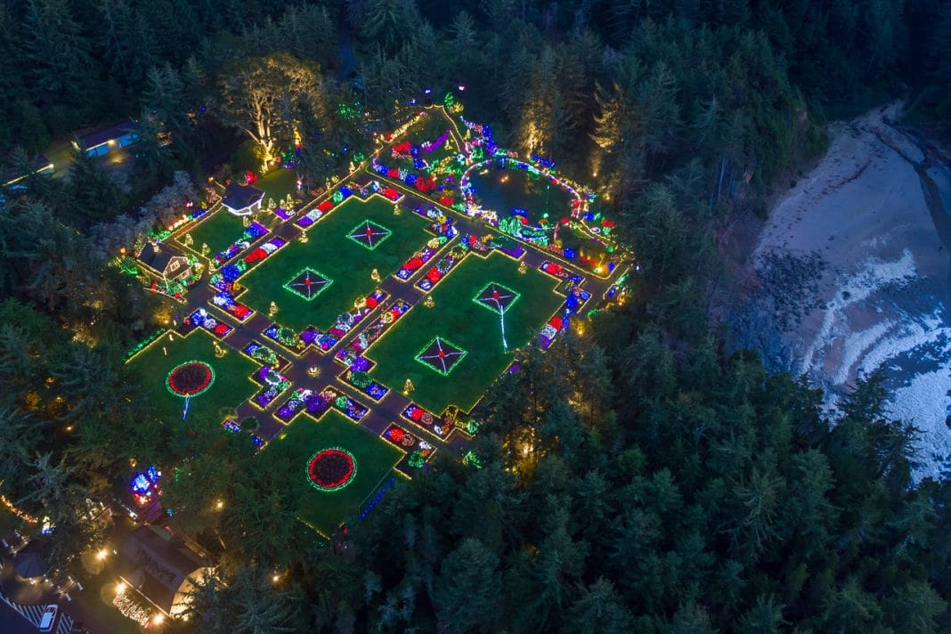 Aerial View of Shore Acres State Park's seven-acre botanical garden during the Annual Holiday Lights Display
