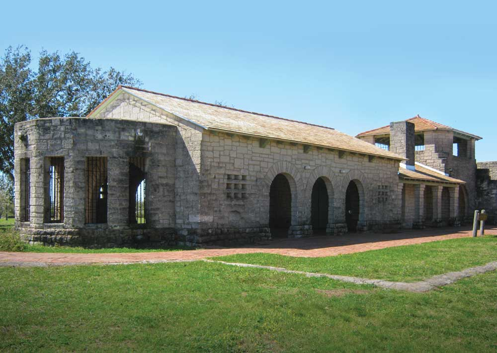 Exterior of the refectory at Lake Corpus Christi State Park in Mathis, Texas