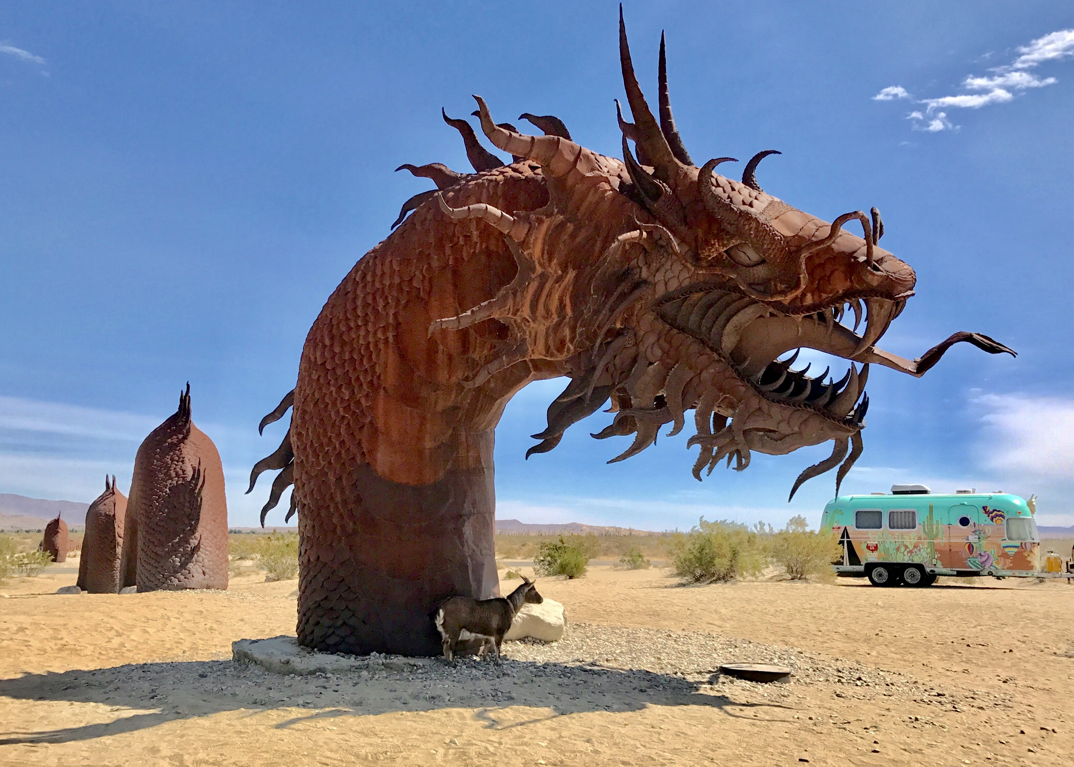 Dragon metal art in Anza Borrego desert with trailer in background