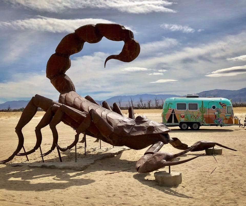 Large metal scorpion art sculpture in Anza Borrego