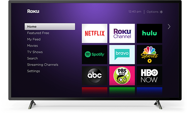 Flatscreen tv showing Netflix, Roku, Hulu and Spotify