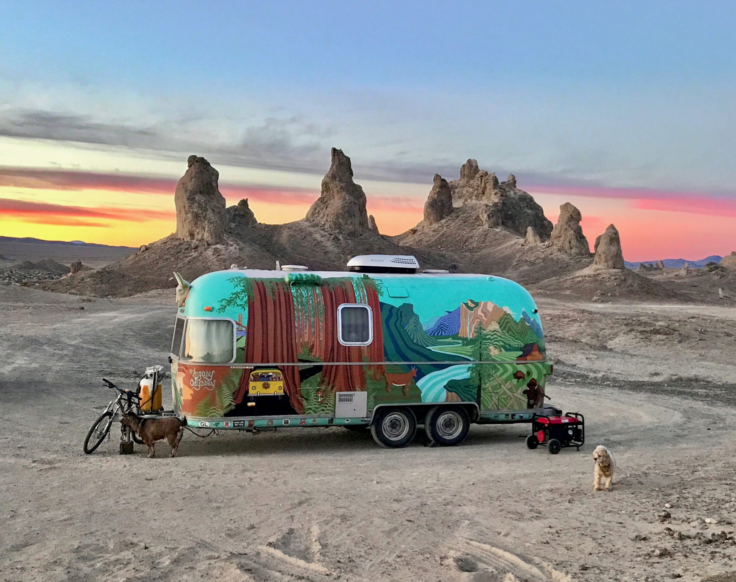 Colorful travel trailer in Trona Pinnacles desert