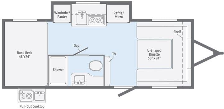 Floorplan illustration of the 2020 Winnebago Minnie Drop 190BH.