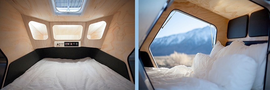 Two views inside the Polydrop trailer.