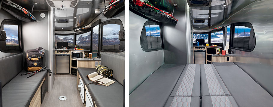 The Basecamp with a view of the bench seating and another view showing the sleeping configuration.