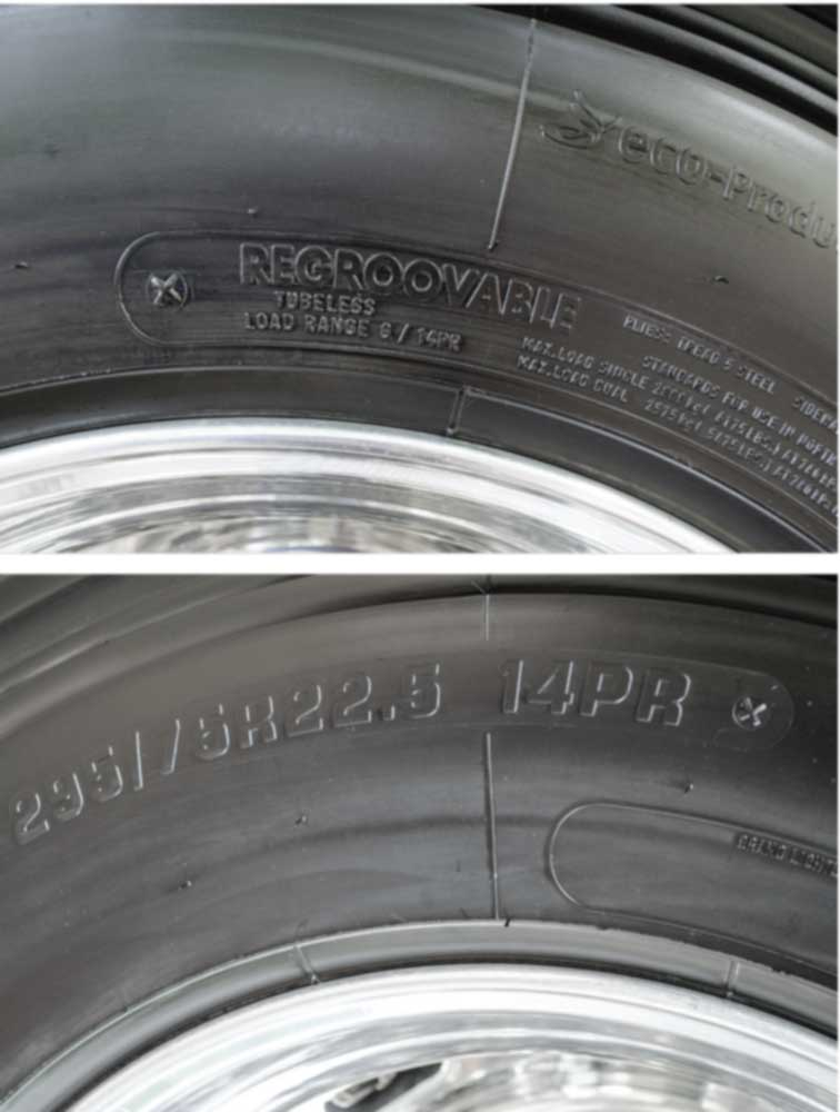 In order to determine the correct inflation pressure for a motorhome's tires, you need to know the size and load range of tires installed on the coach. That info is shown here on the sidewall of the tire.