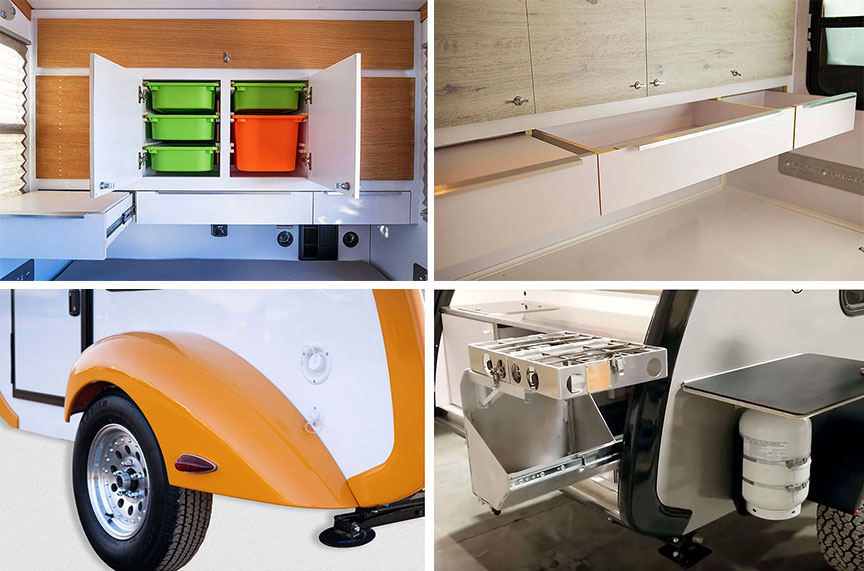 Collage of four Classic Beaner photos showing shelving, drawers, fender and outside options.