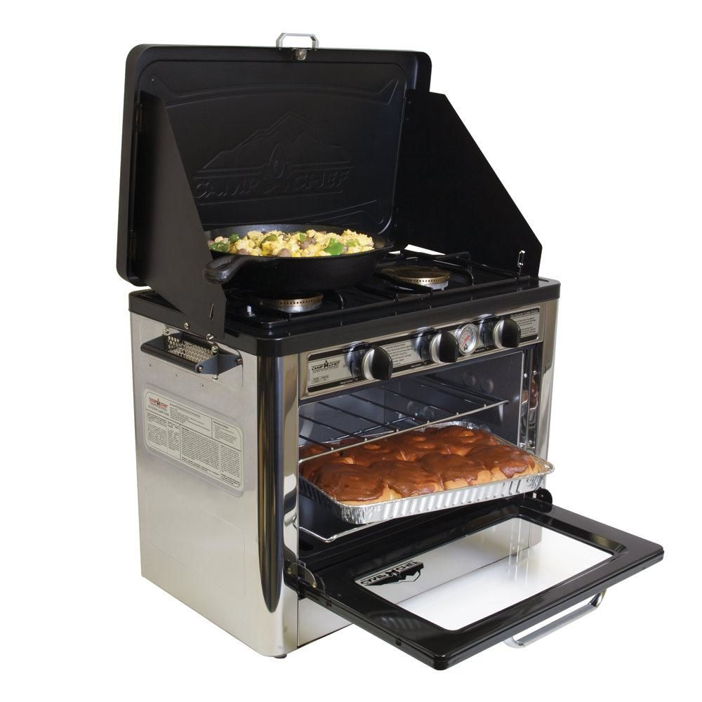 Outdoor oven with egg dish in skillet