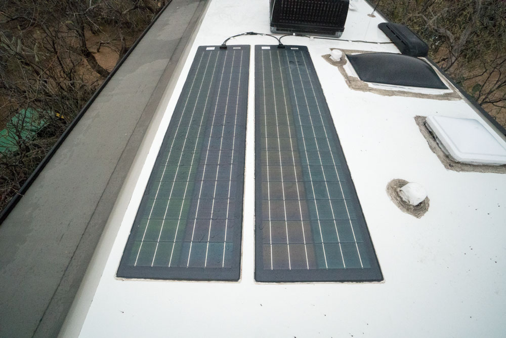 solar panels mounted on the roof of an RV