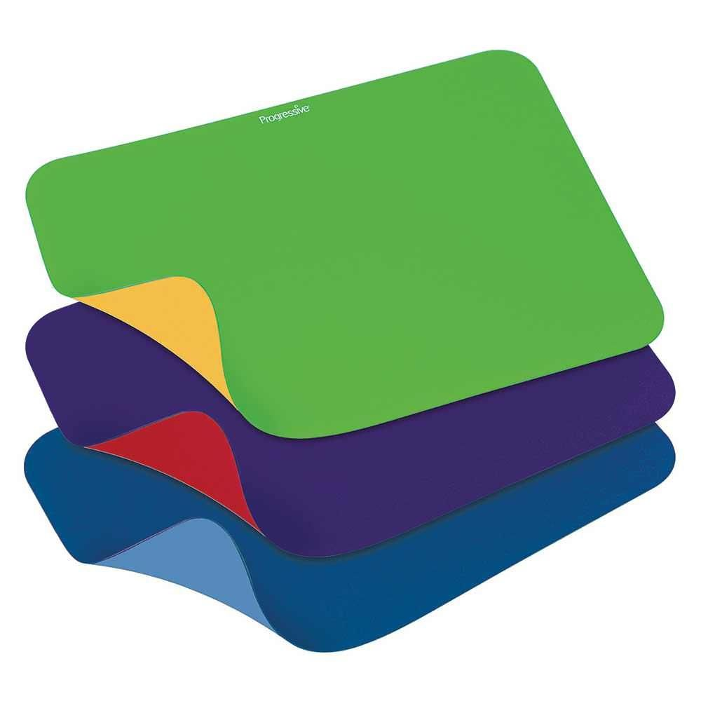 Double-sided mats in yellow and green, purple and red