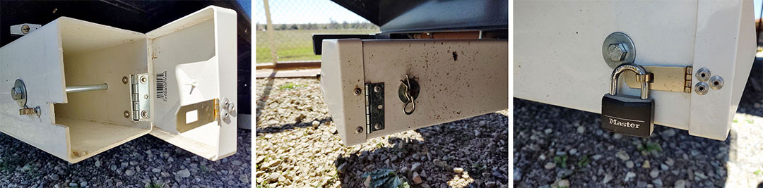 Three photos of hinge on RV ladder storage.