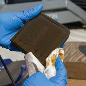 he air filter is a foam pad. If the foam is in good shape, squeeze out excess oil, shake off any dust and wipe it down. If the filter has deteriorated, obtain a replacement from the manufacturer.