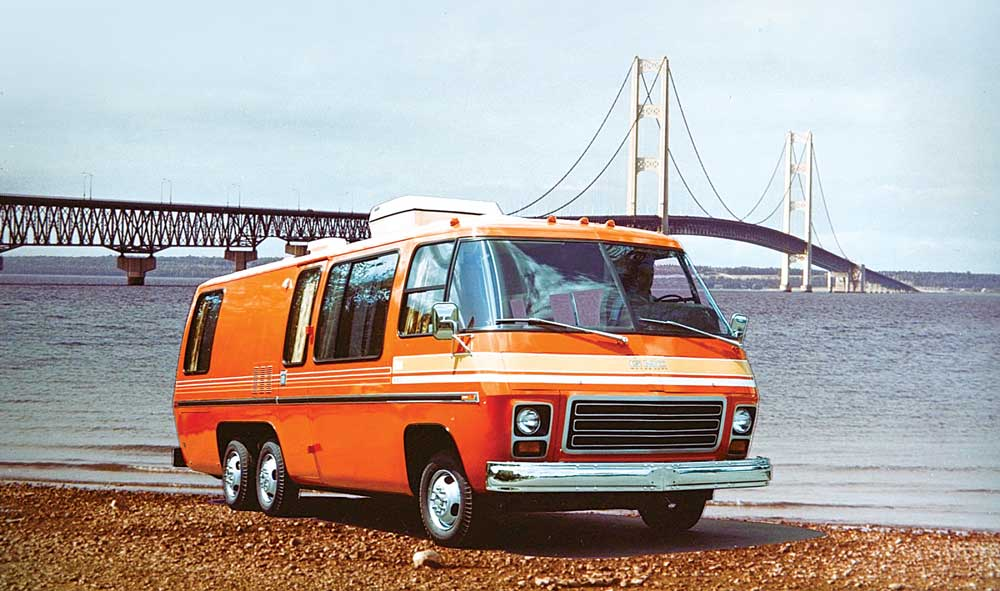 """GMC Class A motorhome in """"Bittersweet"""" orange"""