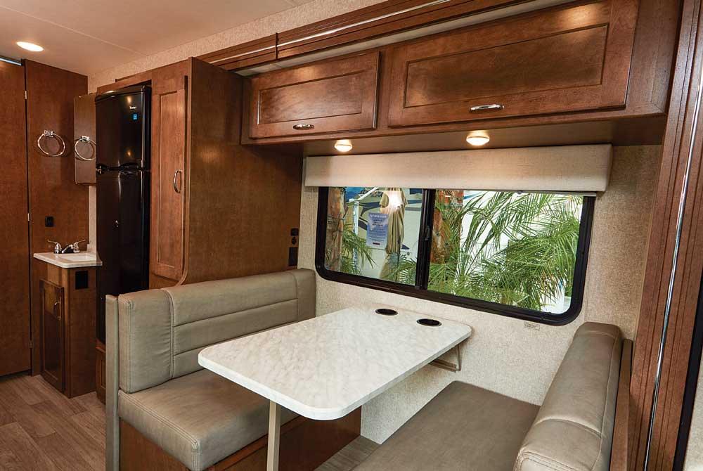 Winnebago Vita Interior Dinette. Expansive window provides a good view of the outside.