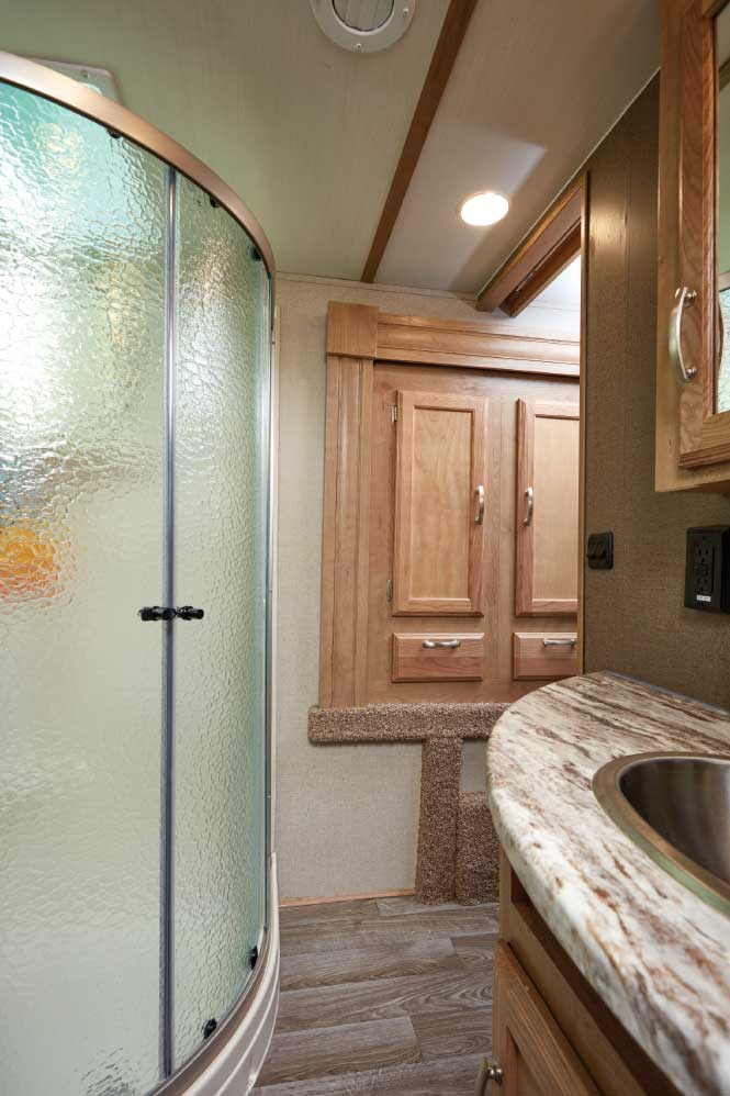 Photo of Winnebago Minnie Plus 29RBH fifth wheel trailer interior, bathroom