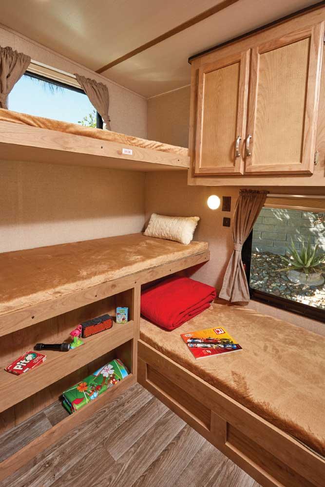 Photo of Winnebago Minnie Plus 29RBH fifth wheel trailer interior, bunkroom area