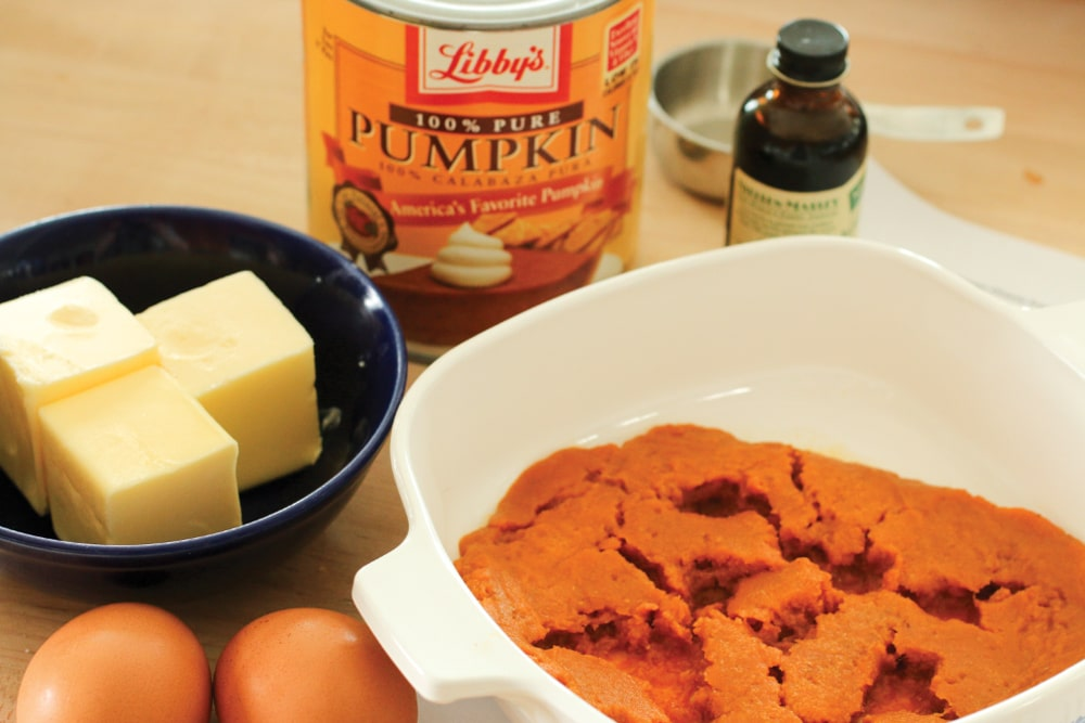 For the recipe below, use canned pumpkin or make your own pumpkin puree by baking fresh pumpkin and pureeing the flesh in a food processor.