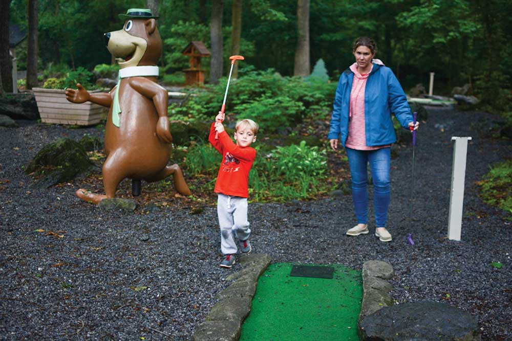 Full-service RV resorts, like the Yogi Bear's Jellystone Park pictured here, offer on-site activities such as mini golf.