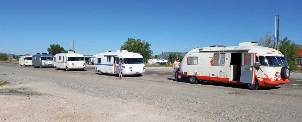 A true blast from the past – a five-motorhome Ultra Van convoy (including Mini Mo and Whale) turned plenty of heads in the middle of the Arizona desert.