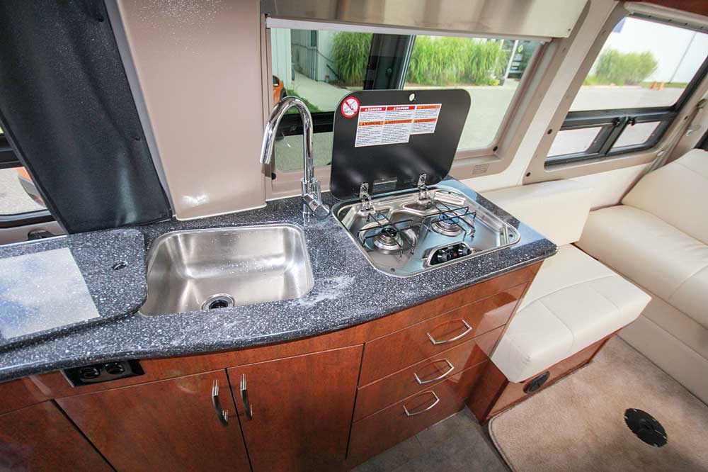 Sink and stove covers increase counterspace and help keep the galley tidy.