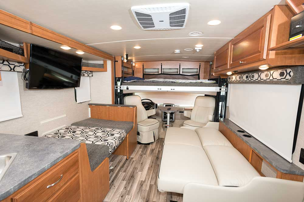 From the optional overhead bunk to the convertible dinette to the jackknife sofa, guests (or kids) have plenty of sleeping choices in the Vista 27PE, which can sleep up to eight.