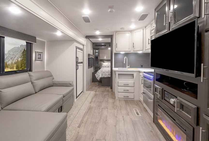 Looking from the back to the front of the trailer to the bedroom