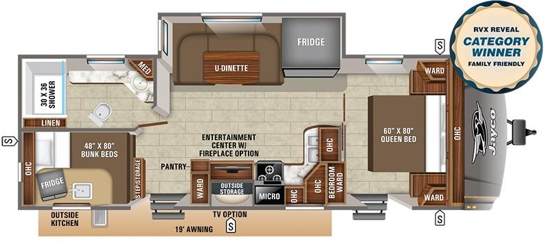 Floorplan showing U-shaped dinette