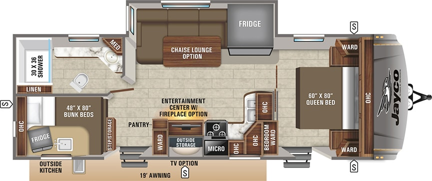 Floorplan showing optional chaise lounge