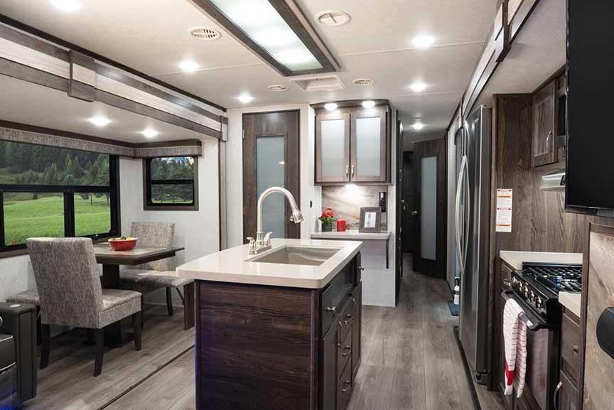 Kitchen island in Open Range 322RLS travel trailer