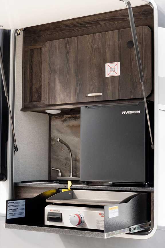 Exterior kitchen in Open Range 322RLS travel trailer
