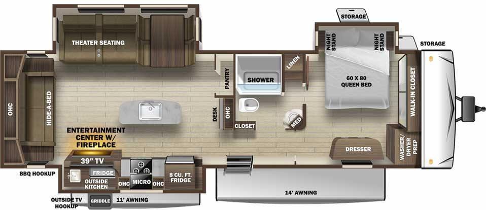 Floorplan illustration for Open Range 332RLS travel trailer