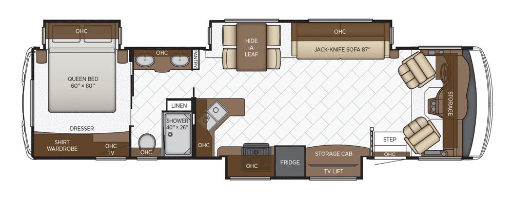 Newmar Bay Star Class A motorhome floorplan