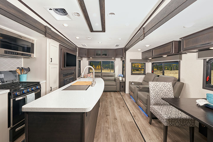 Galley and living area of Highland Ridge Roamer fifth-wheel