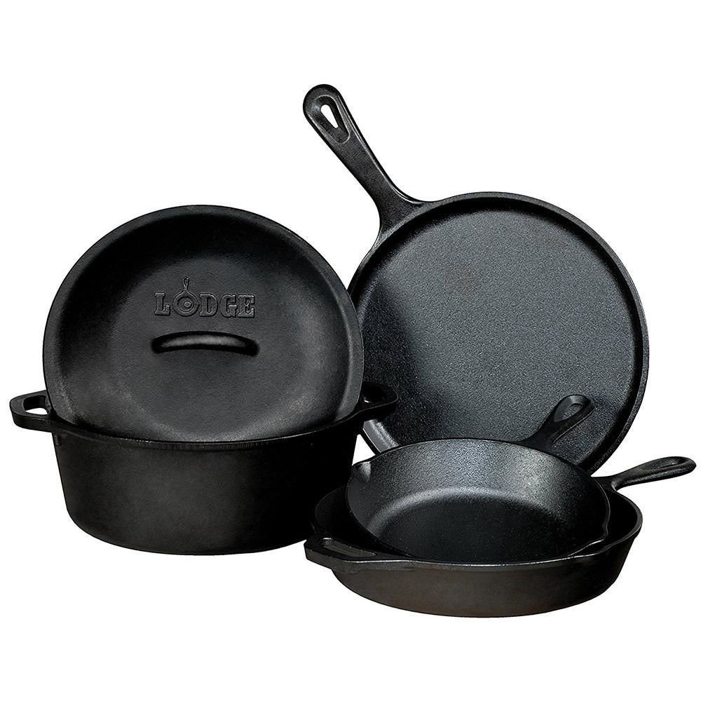 Cast iron skillets and dutch oven