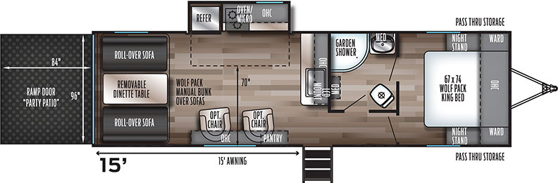 Floorplan illustration of toy hauler showing front bedroom and rear sofas and table.