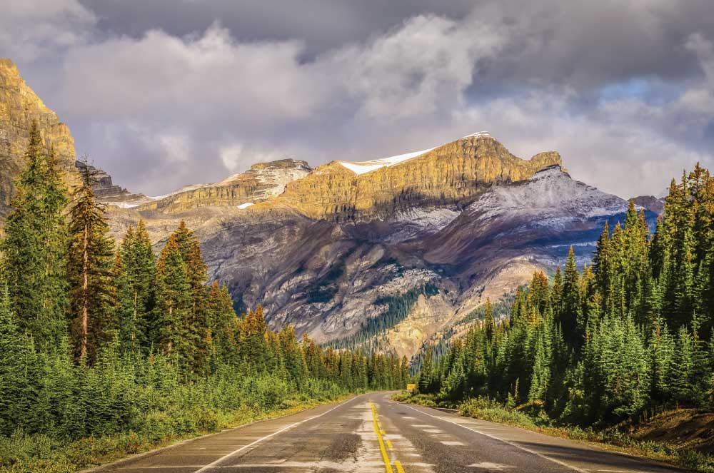 The Icefields Parkway, Highway 93, cuts a 145- mile swath through the Rockies between the mountain towns of Lake Louise and Jasper.