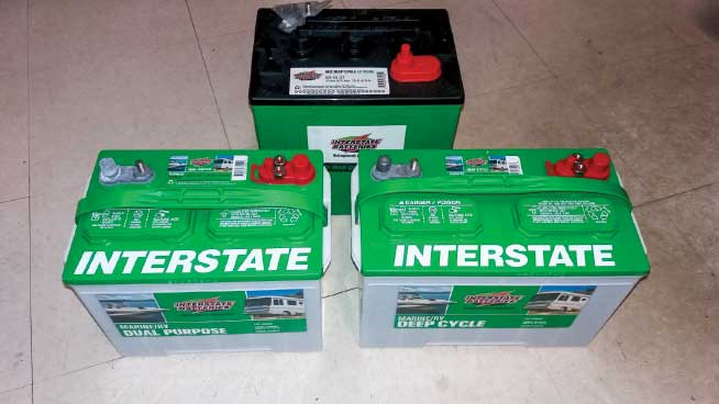 Flooded lead-acid batteries (clockwise from rear): 6-volt, 12-volt group 27 and 12-volt group 24.