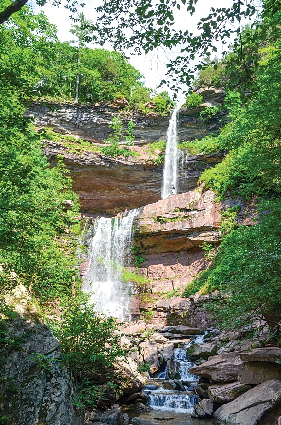 A popular trail through the Catskills takes hikers to the two-tiered Kaaterskill Falls.