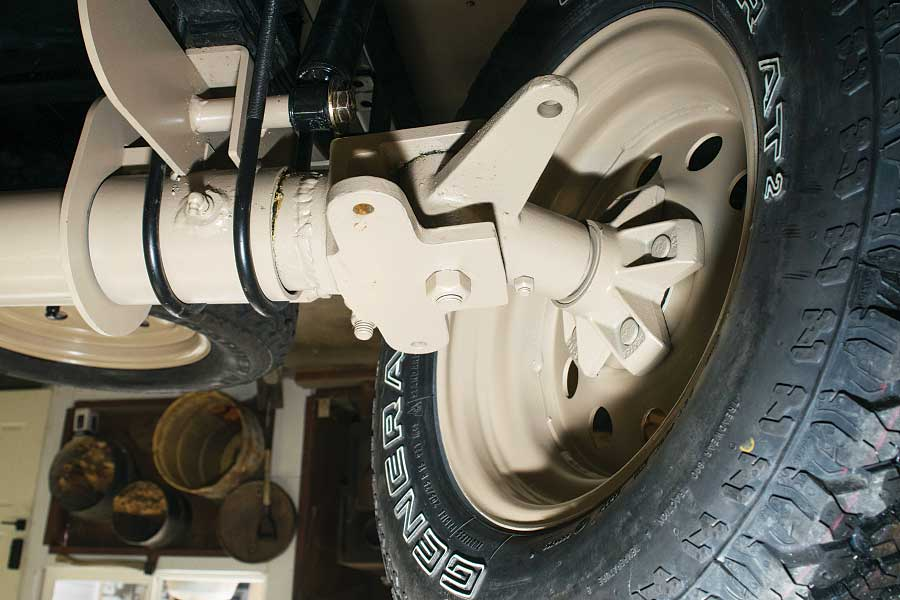 Photo shows The specially designed steering knuckles.
