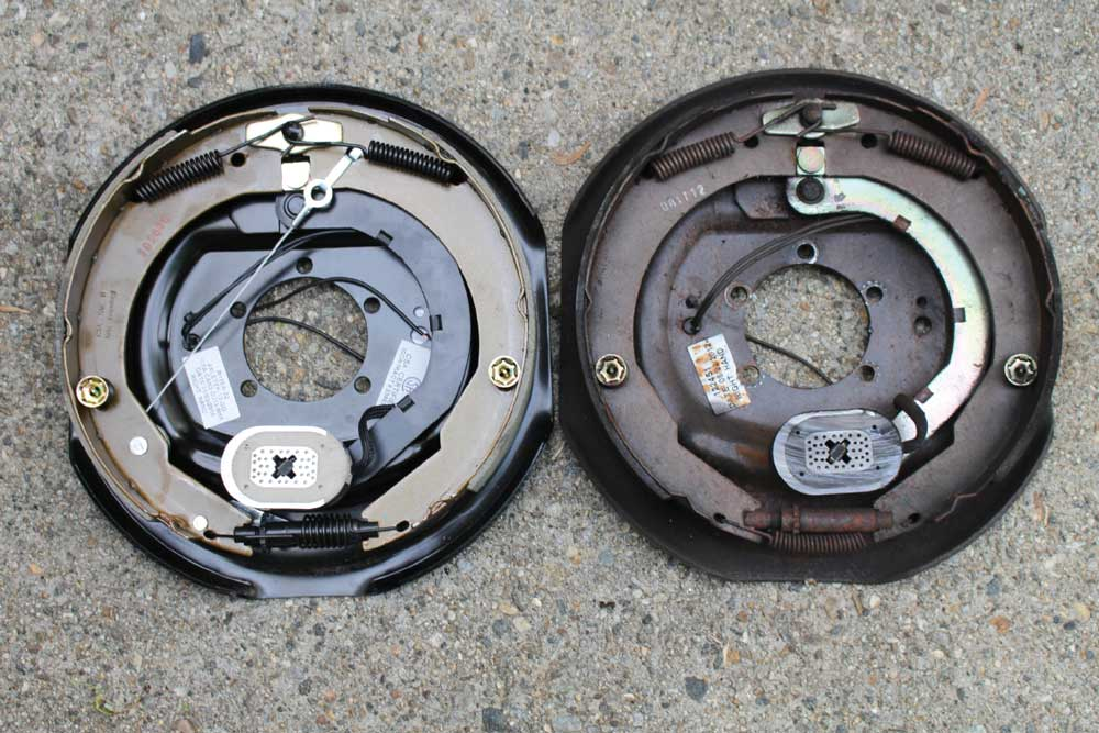 LCI's Forward Self-Adjusting Brake is shown on the left, and the trailer's original standard electric brake is shown on the right.