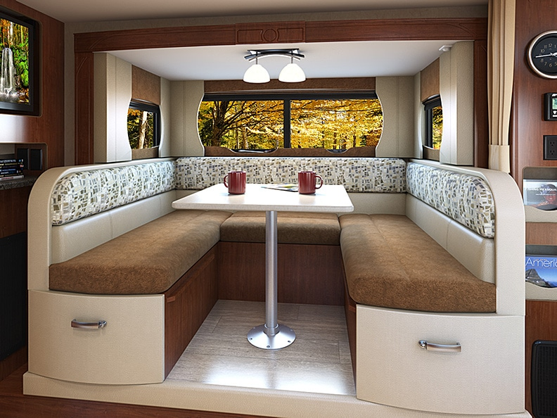 U-shaped dinette in and extended slideout