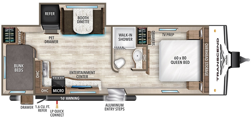 Floorplan of Grand Design Transcend Xplor 243BH showing one slideout and pass-through storage.